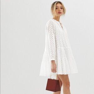 Asos Tiered White Eyelet Dress